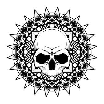 Ilustração vetorial de crânio de mandala