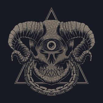 Ilustração vetorial de crânio de monstro com um olho