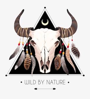 Ilustração vetorial de crânio de touro com penas