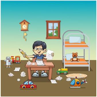Ilustração vetorial de criança na sala com brinquedos