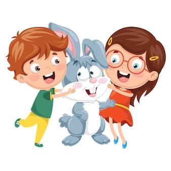 Ilustração vetorial de crianças dos desenhos animados com coelho