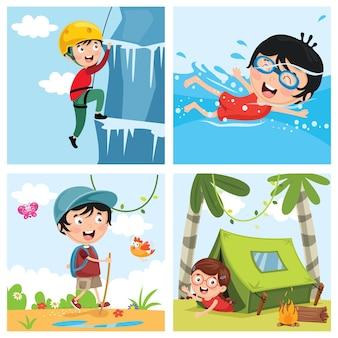 Ilustração vetorial de crianças na natureza