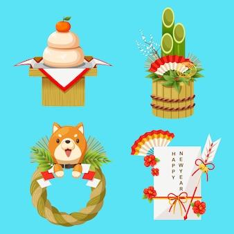 Ilustração vetorial de decorações de ano novo japonês