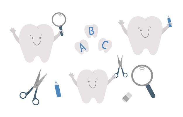 Ilustração vetorial de dentes bonitos kawaii com lupa e tesoura cola lápis para cuidados dentários
