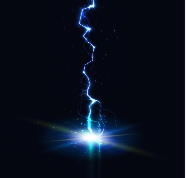 Ilustração vetorial de descarga elétrica de disparo de relâmpago, trovão, linha vertical