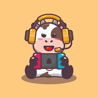 Ilustração vetorial de desenho animado bonito vaca jogando um jogo