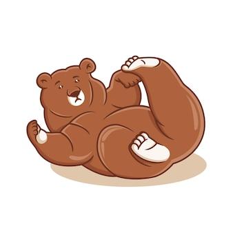 Ilustração vetorial de desenho animado de urso desenhado à mão