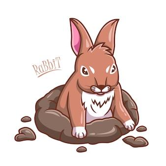 Ilustração vetorial de desenho de coelho saindo de buracos no solo