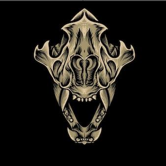 Ilustração vetorial de desenho de crânio de lobo