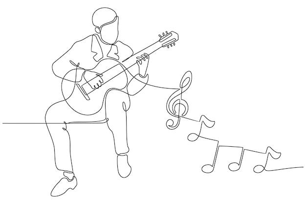 Ilustração vetorial de desenho de linha contínua de um homem tocando guitarra