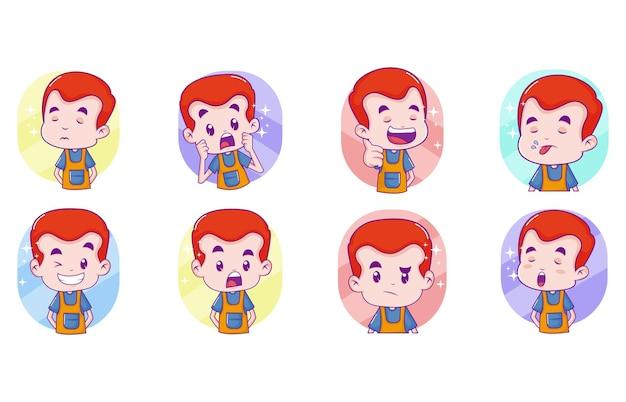 Ilustração vetorial de desenhos animados de adesivos de menino fofo
