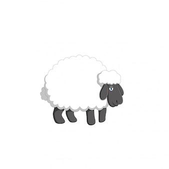 Ilustração vetorial de desenhos animados de ovelhas