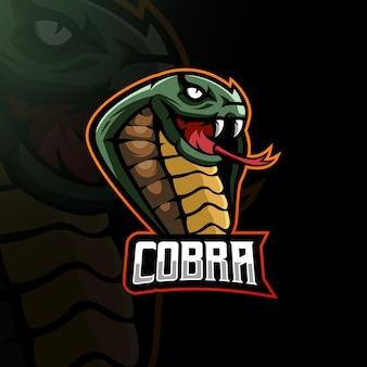 Ilustração vetorial de design de logotipo de mascote cobra esport