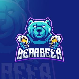 Ilustração vetorial de design de logotipo de mascote de cerveja urso
