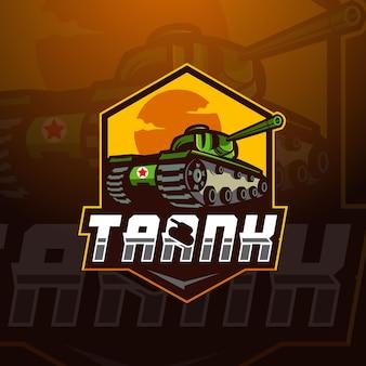 Ilustração vetorial de design de logotipo de mascote tank esport