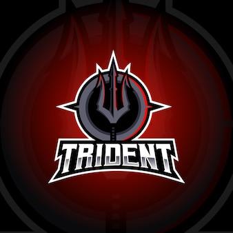 Ilustração vetorial de design de logotipo de mascote trident e-sport