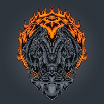 Ilustração vetorial de dragão com duas cabeças