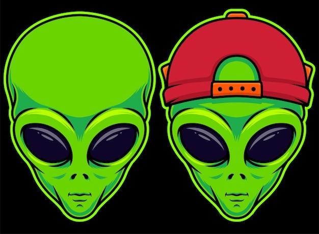 Ilustração vetorial de duas cabeças de alienígena em um objeto separado