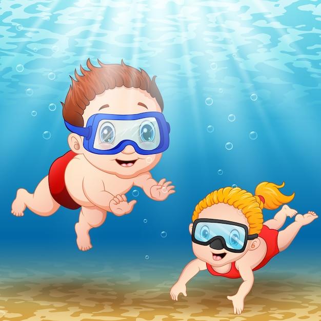 Ilustração vetorial de duas crianças mergulhando debaixo d'água