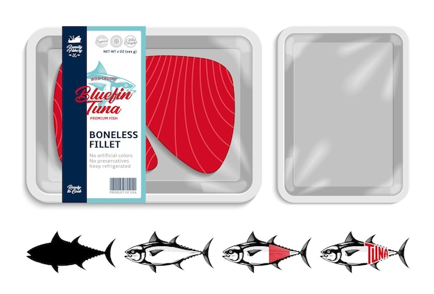 Ilustração vetorial de embalagem de bandeja de comida de atum