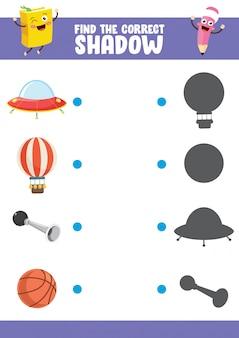 Ilustração vetorial de encontrar o exercício de sombra correta