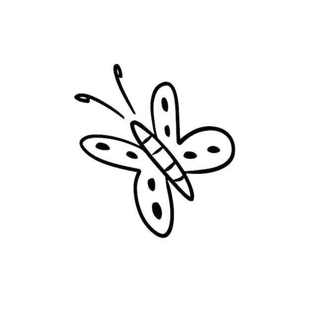 Ilustração vetorial de estêncil de desenho de tatuagem à mão de borboleta