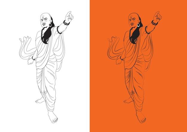 Ilustração vetorial de estoque de chanakya ou kautilya