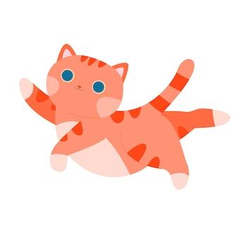 Ilustração vetorial de estoque de gato listrado vermelho laranja com gatinho em um fundo branco