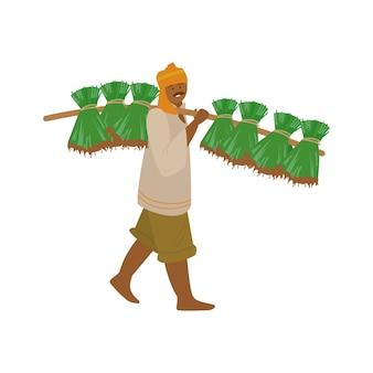 Ilustração vetorial de fazendeiro indiano em turbante carregando plantas de arroz para o plantio