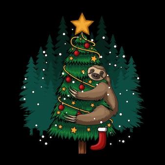 Ilustração vetorial de feliz natal preguiça abraçando árvore