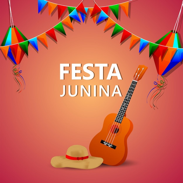 Ilustração vetorial de festa junina com guitarra, bandeira de festa colorida e lanterna de papel