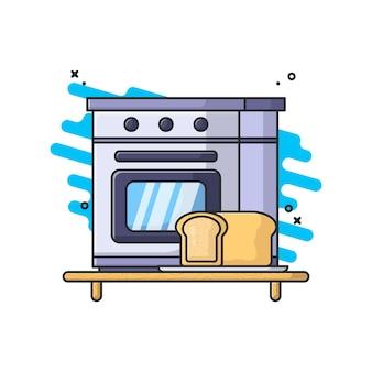 Ilustração vetorial de forno e pão