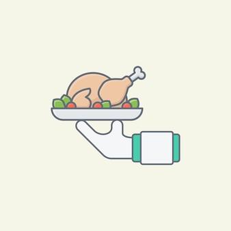 Ilustração vetorial de frango assado