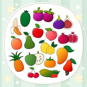 Ilustração vetorial de fruta colorida