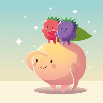 Ilustração vetorial de frutas kawaii cara engraçada felicidade fofa pêssego com amoras
