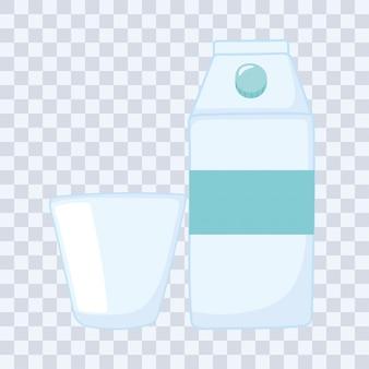 Ilustração vetorial de garrafas de plástico ou de vidro, caixa de leite ou suco e copo descartável