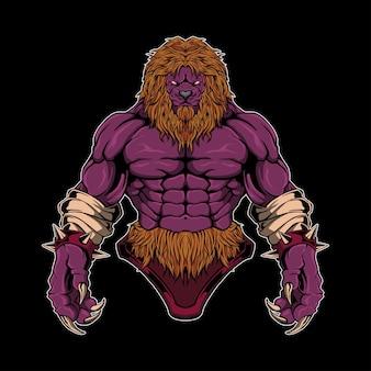Ilustração vetorial de guerreiro leão
