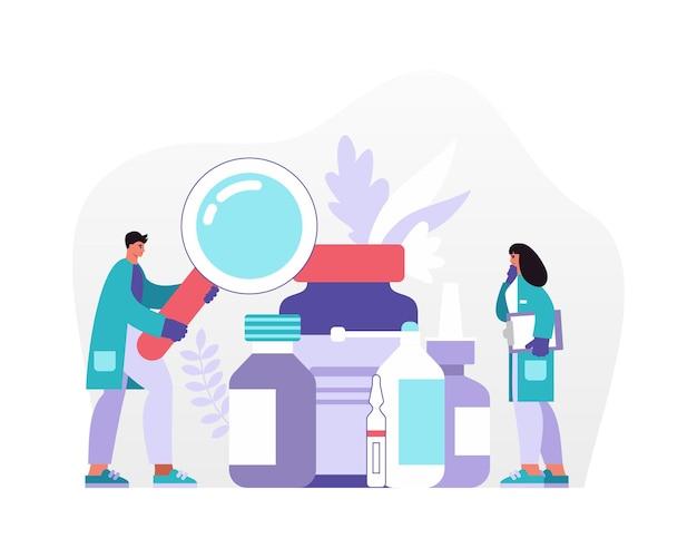 Ilustração vetorial de homem e mulher em uniforme médico usando lupa para inspecionar recipientes de vários medicamentos no hospital