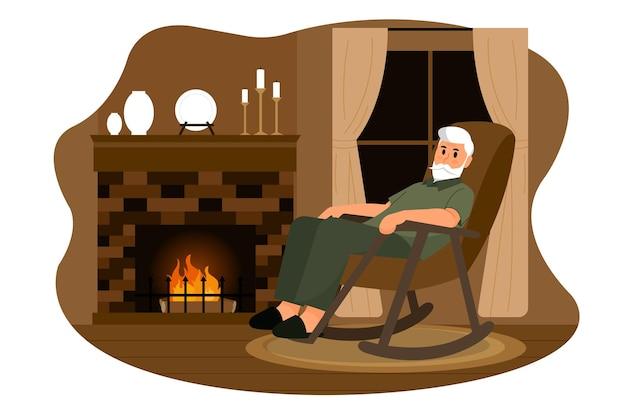 Ilustração vetorial de homem idoso na cabana de madeira