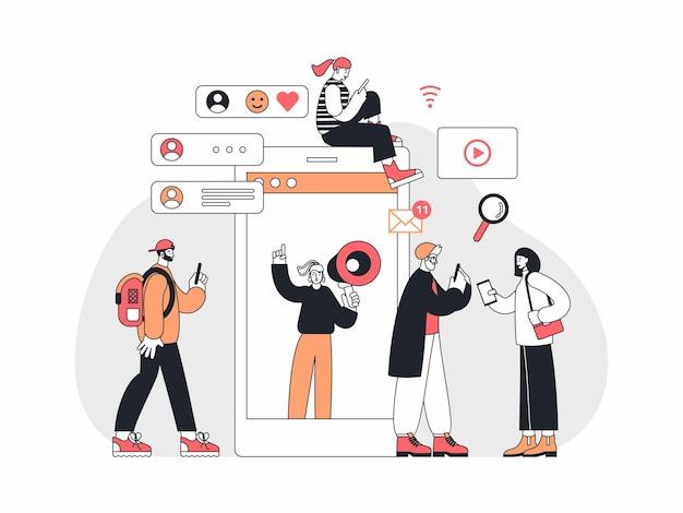 Ilustração vetorial de homens e mulheres contemporâneos navegando nas redes sociais e assistindo a anúncios perto de smartphone com gerente com alto-falante