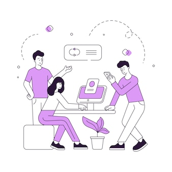 Ilustração vetorial de homens e mulheres contemporâneos usando smartphone e computador para analisar dados