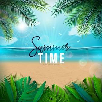 Ilustração vetorial de horário de verão com folhas de palmeira e paisagem do oceano