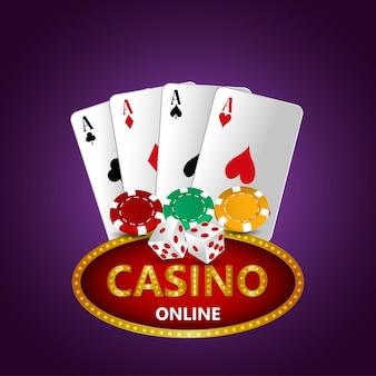 Ilustração vetorial de jogos de azar em cassino com cartas e fichas criativas