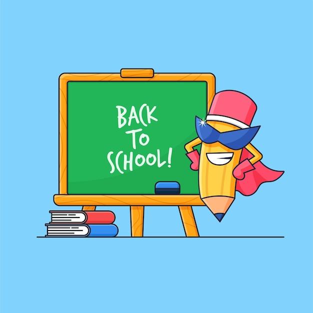 Ilustração vetorial de lápis de super-heróis com fundo clack board para projeto de conceito de volta às aulas