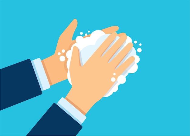 Ilustração vetorial de lavar as mãos com sabão