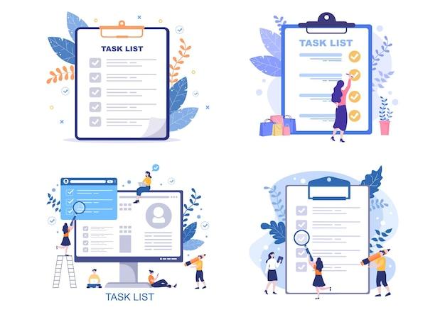 Ilustração vetorial de lista de tarefas lista de tarefas gerenciamento de tempo, planejamento de trabalho ou organização de metas diárias. modelo de página de destino
