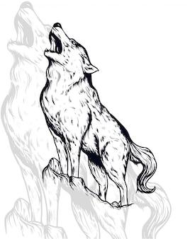 Ilustração vetorial de lobo