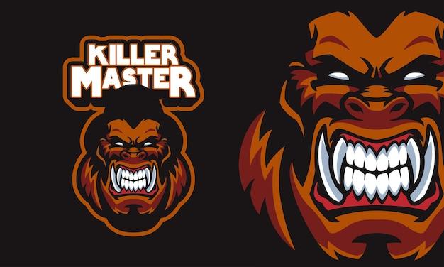 Ilustração vetorial de logotipo mascote de esportes com cabeça de gorila zangado