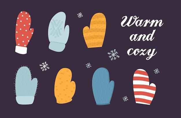 Ilustração vetorial de luvas quentes feitas à mão, lindo cartão de natal, acessório tradicional de inverno