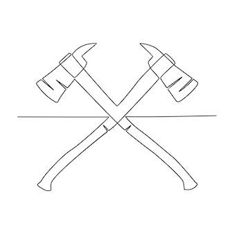 Ilustração vetorial de machado de desenho de linha contínua
